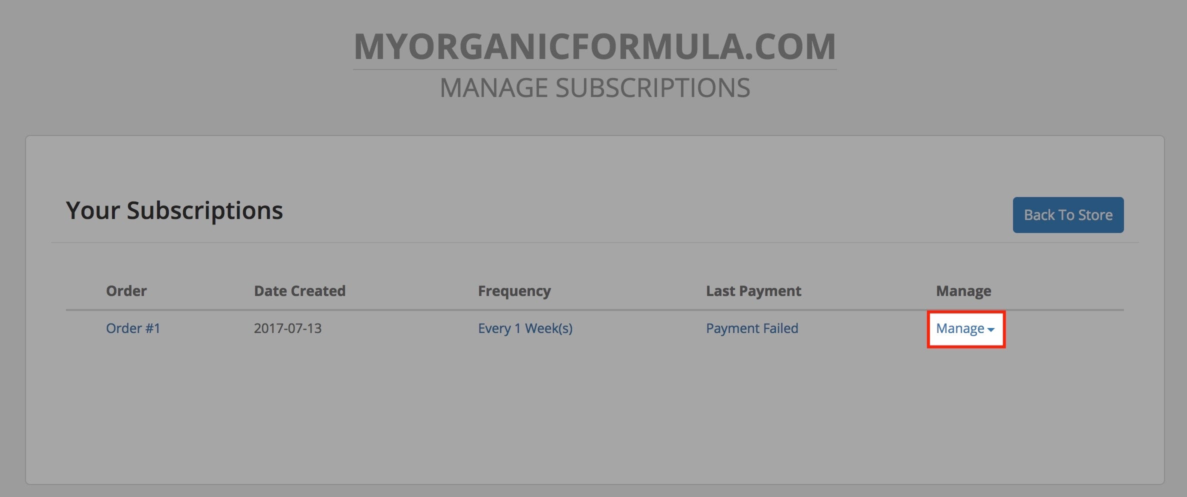 Subscription Manage Button