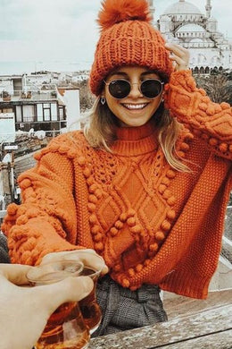 Boho Sweater, Knitted Sweater, Pullover, Pumpkin Pom Pom