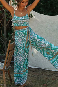 Boho 2 Piece Set, Matching Crop Top and Palazzo Pant, Wild Boho Square Mint