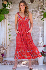 Midi Dress, Boho Dress, Strappy, Amary in Red