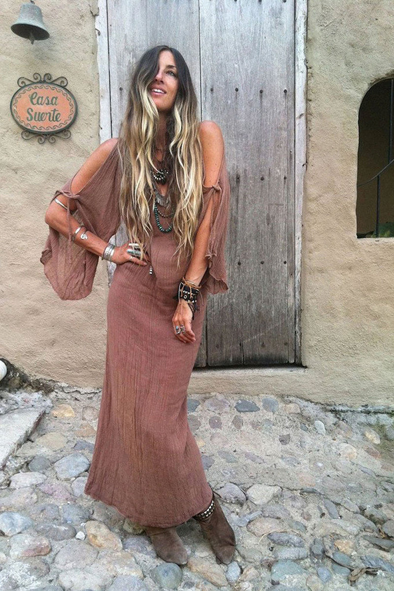 Maxi Dress, Boho Dress, Beach Dress, Cover Up, Cedar in Coffee