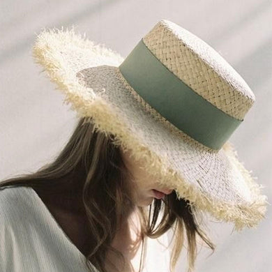 Boho Hat, Sun Hat, Beach Hat, Fringed Wide Brim Raffia Straw Hat, Ribbon