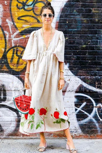 Midi Dress, Boho Dress, Embroidered Dress, Red Rose