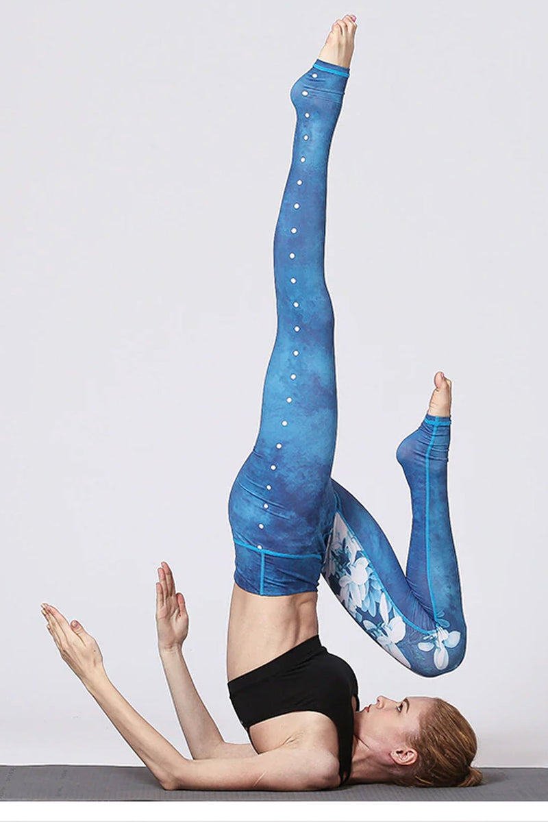 Boho Yoga Legging, Printed Tight, Blue White Lotus