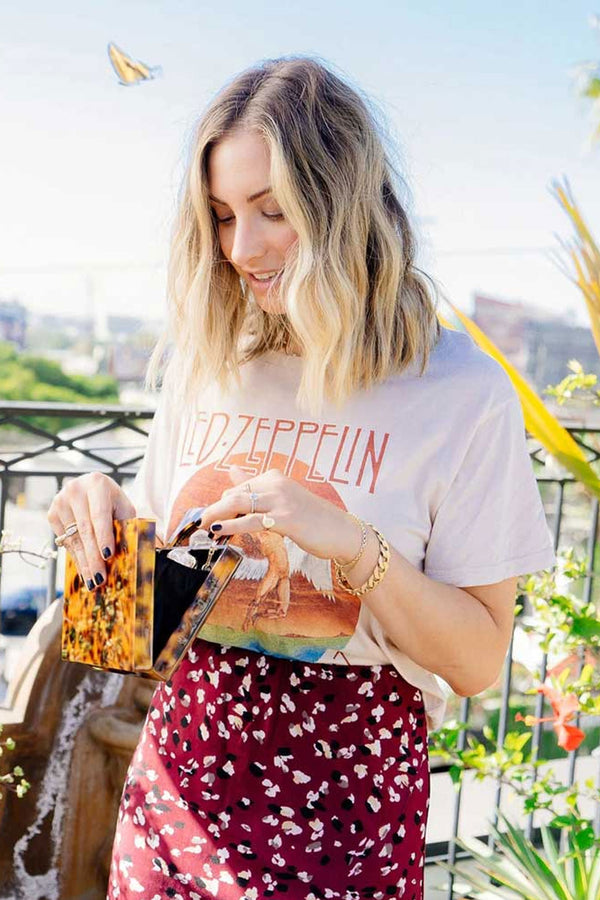 Boho Tee, Vintage T Shirt, Led Zep plin in White