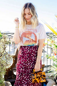 Boho Tee, Vintage T Shirt, Led Zep in White plin