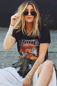 Boho Tee, Vintage T Shirt, Led Zep in Black plin