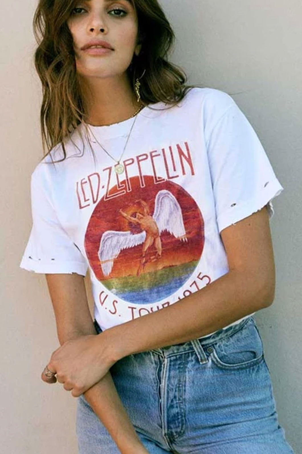 Boho Tee, Vintage T Shirt, Led Zeppelin in White