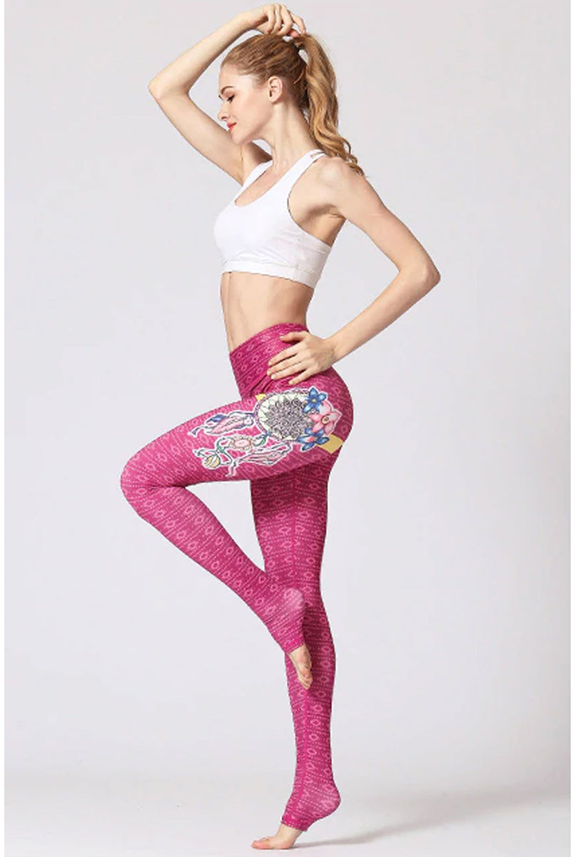 Boho Yoga Legging, Printed Tight, Bohemain Dream Catcher in Gypsy Pink