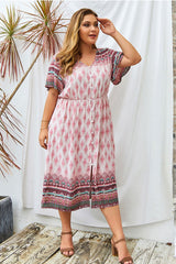 Plus Size Bohemian Dress, Wild Floral in Indian Petunia Pink