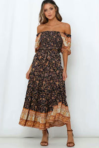Boho 2 Piece Set, Matching Crop Top and Maxi Skirt, Wild Floral Jasmine in Navy