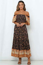 Load image into Gallery viewer, Boho 2 Piece Set, Matching Crop Top and Maxi Skirt, Wild Floral Jasmine in Navy