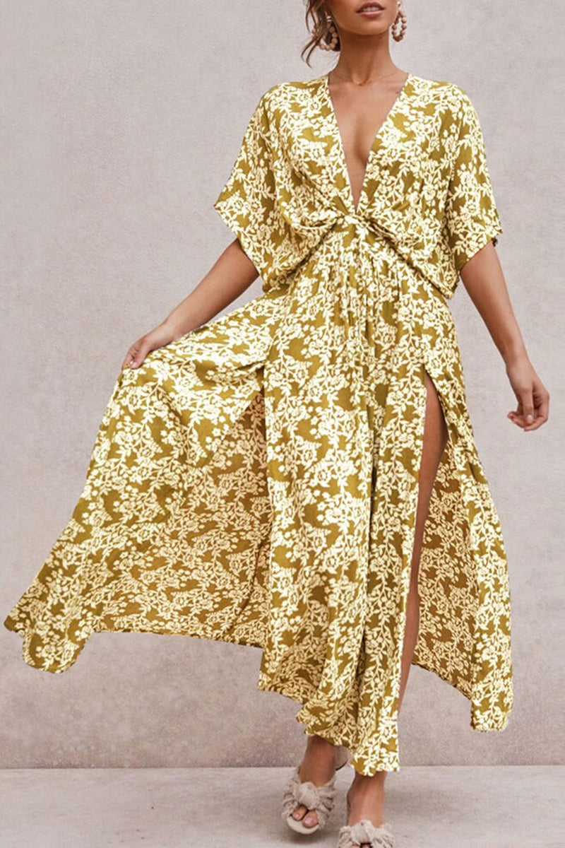 Maxi Dress, Boho Dress, Sundress, Wild Floral Vintage Oroslavje in Mustard
