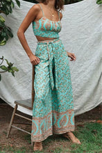 Load image into Gallery viewer, Boho 2 Piece Set, Matching Crop Top and Pant, Wild Floral in Mint