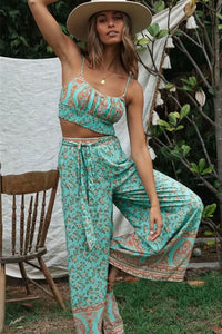 Boho 2 Piece Set, Matching Crop Top and Pant, Wild Floral in Mint