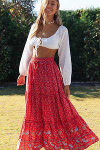 Boho Skirt, Maxi Skirt, Ophelia in Red