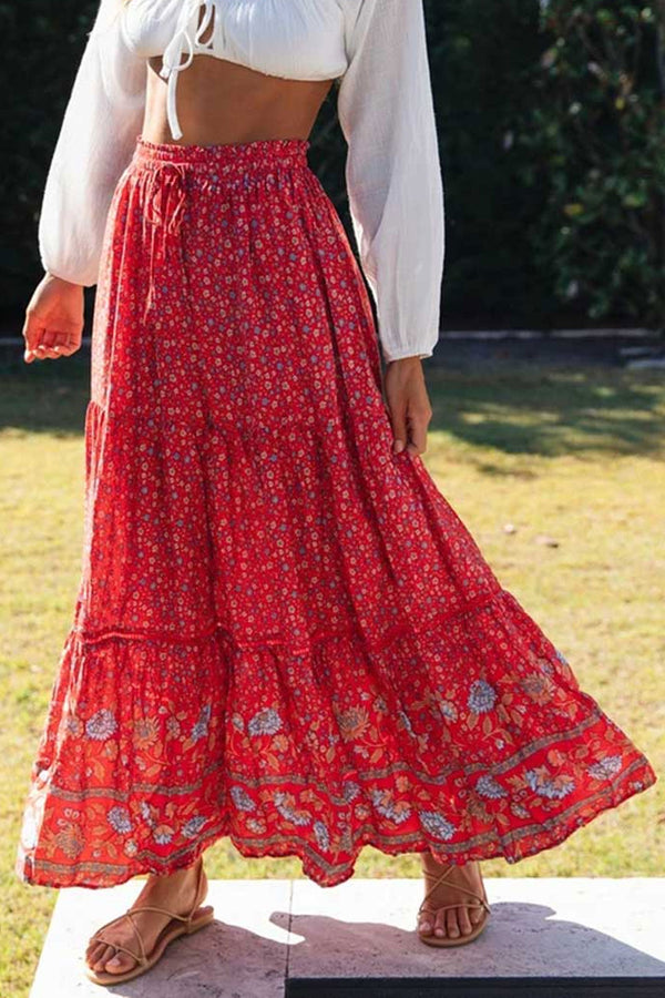Boho Skirt, Maxi Skirt, Heather in Red