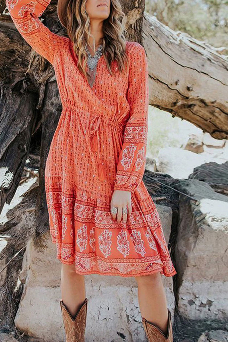 Midi Dress, Boho Dress, Bohemian in Red