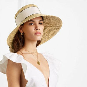 Boho Hat, Sun Hat, Beach Hat, Wide Brim Straw Hat, Big Ribbon