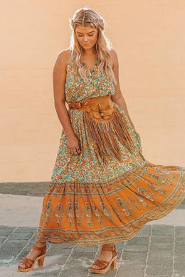 Maxi Dress, Boho Dress,Rosa in Orange