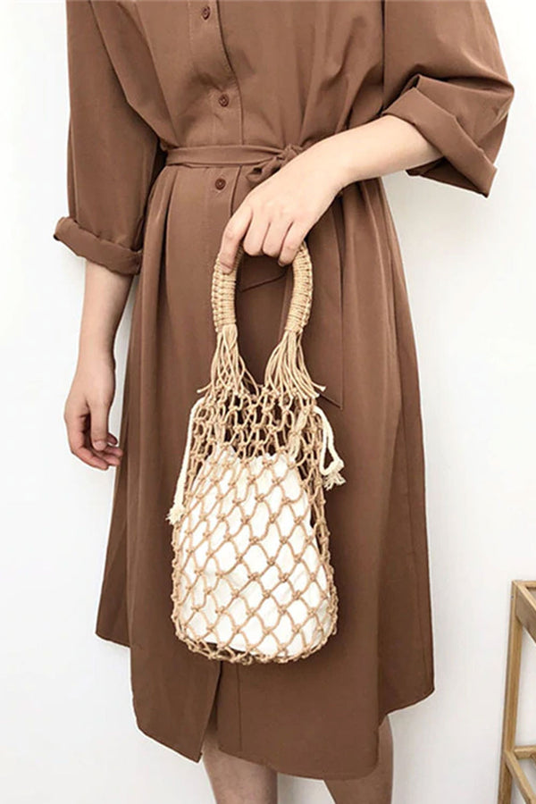 Boho Bag, Woven Mesh Rope Tote Bag Kezia