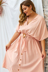 Plus Size Bohemian Dress, Summer in Pink