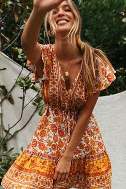 Mini Dress, Boho Dress, Sundress, Wild Floral Abigail Honey