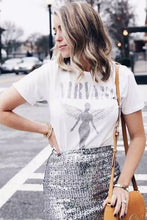 Load image into Gallery viewer, Boho Tee, Vintage T Shirt, Nirvana in White