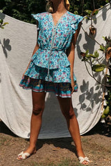 Mini Dress, Boho Dress, Sundress, Raffle Wild Floral Fresco in Blue