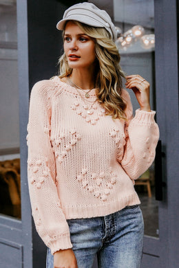 Boho Sweater, Knitted Sweater, Pom Pom Pink
