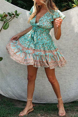 Mini Dress, Boho Dress, Sundress, Wild Floral in Mint