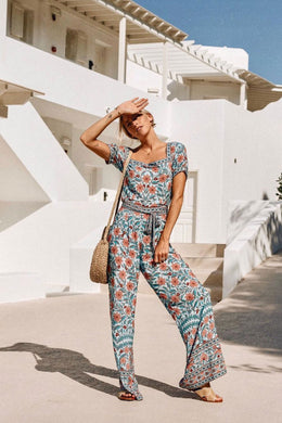 Boho Jumpsuit, Strappy Pantsuit, Marigold in Blue