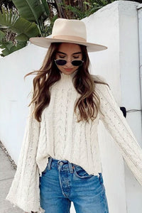 Boho Sweater, Knitted Sweater, White Bell