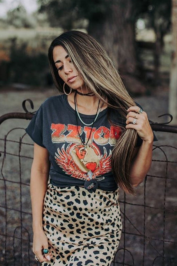 Boho Tee, Vintage T Shirt, ZZ Guitar World Tour