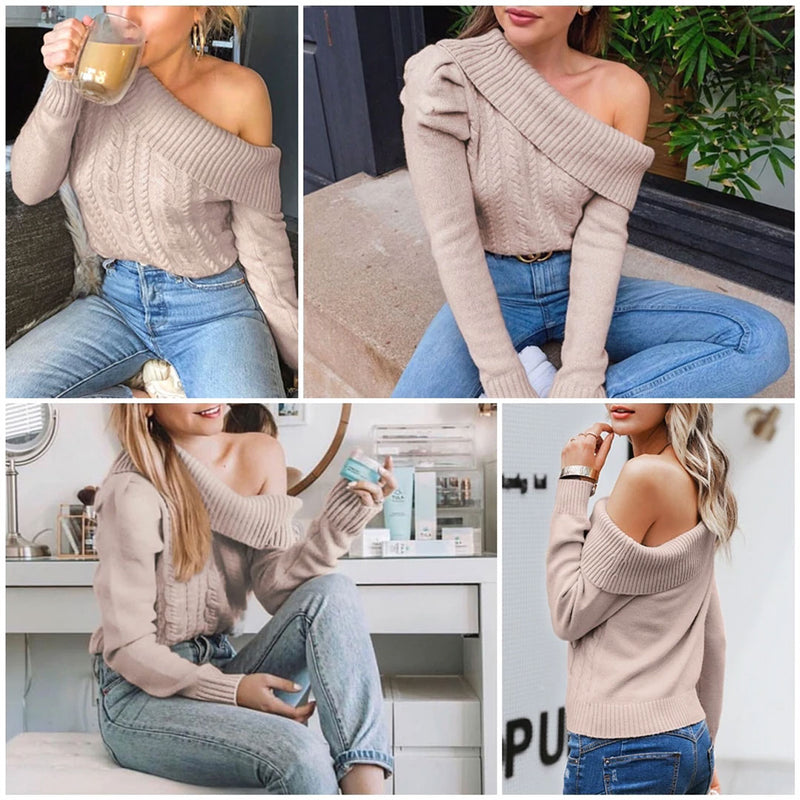 Boho Sweater, Knitted Sweater, Off Shoulder, Abby