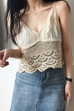 Boho Blouse, Strappy Crop Top, Camis Lace in White and Ivory
