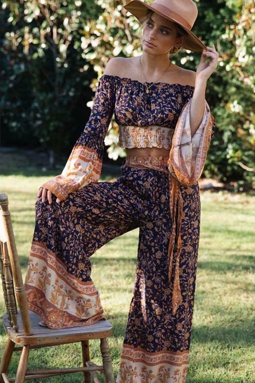 Boho Pant, Palazzo Pant, Wild Leg Pant, Wild Floral Jasmine in Navy
