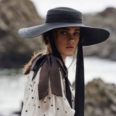 Boho Hat, Sun Hat, Beach Hat, Wide Brim Straw Hat 15-18 cm, Ribbon in Black
