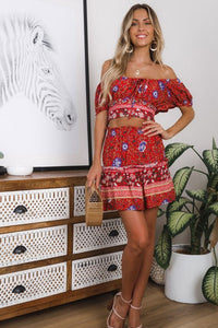 Boho 2 Piece Set, Matching Crop Top and Mini Skirt, Wild Floral Folk in Red