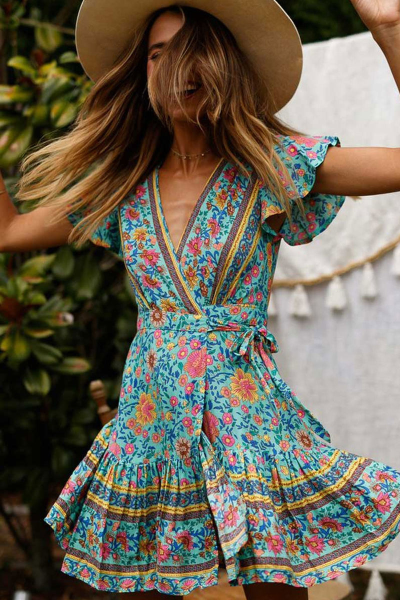 Mini Dress, Sundress, Flower Song in Blue