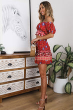 Load image into Gallery viewer, Boho 2 Piece Set, Matching Crop Top and Mini Skirt, Wild Floral Folk in Red