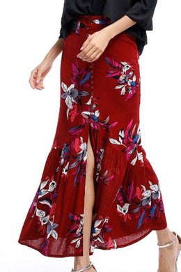Boho Skirt, Maxi Skirt, Wild Floral in Red
