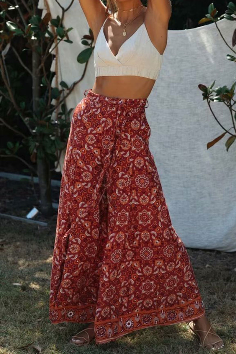 Boho Pant, Palazzo Pant, Wild Floral in Indian Paisley Red