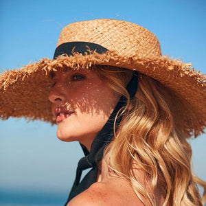 Boho Hat, Sun Hat, Beach Hat, Fringed Wide Brim Straw Hat, Ribbon