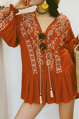 Boho Blouse, Embroidered Blouse, Bali in Cinnamon Brown