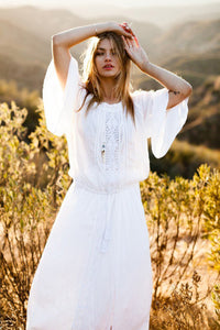 Maxi Boho Dress,  Beach Dress, White Andria
