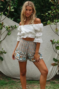 Boho Pant, Short, Wild Floral Ophelia Ruffle in Dusty