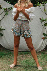 Boho Pant, Short, Wild Floral Heather in Dusty Green