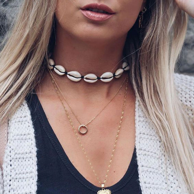 Boho Necklace, Puka Shell, Black Ocean