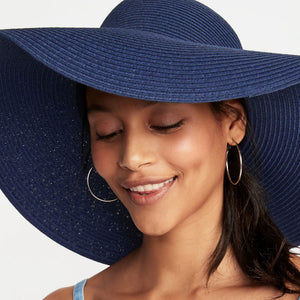 Boho Hat, Sun Hat, Beach Hat, Extra Large Wide Brim, Straw Hat, Navy and Wine (Soft, 26 cm)